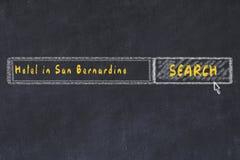 用粉笔写搜索引擎剪影  搜寻和预定一家旅馆的概念在圣伯纳迪诺 免版税库存照片