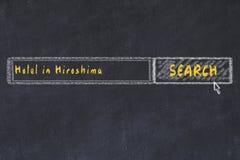 用粉笔写搜索引擎剪影  搜寻和预定一家旅馆的概念在广岛 库存图片