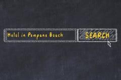 用粉笔写搜索引擎剪影  搜寻和预定一家旅馆的概念在庞帕诺比奇 免版税库存图片