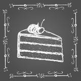 用粉笔写蛋糕与奶油和樱桃的在上面 库存图片