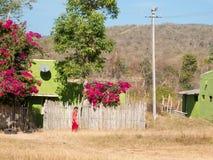 用紫红色sary走盖的印地安妇女,当谈话在电话时 库存照片
