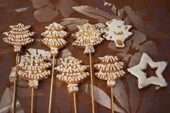 用结冰装饰的自创姜饼 免版税图库摄影