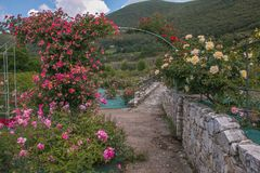用美丽的玫瑰或曲拱做的浪漫隧道 库存图片
