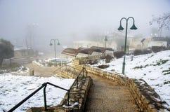 用美丽的雪和雾盖的城市 免版税图库摄影