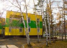 用美丽的黄色和绿色房屋板壁盖的两层大厦 库存照片