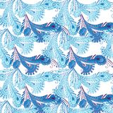 用羽毛装饰在东方样式的无缝的样式在淡色 de 库存照片