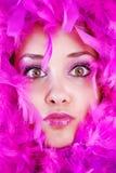 用羽毛装饰女孩 免版税库存图片