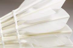 用羽毛装饰的白色Shuttlecock 免版税库存照片