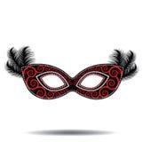 用羽毛装饰的面具 免版税库存照片