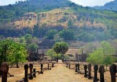 用考古学站点观看风景Wat Phu或VA走道  免版税库存图片
