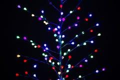 用色的电灯泡做的圣诞树 免版税图库摄影