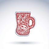 用花卉传染媒介样式装饰的创造性的啤酒杯 酒精 免版税图库摄影