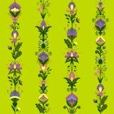 用花卉元素装饰的五颜六色的无缝的样式 库存照片
