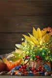用花和菜装饰的桌 日愉快的感恩 秋天背景特写镜头上色常春藤叶子橙红 免版税库存图片