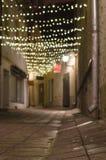 用花彩装饰的狭窄的城市街道 免版税库存照片