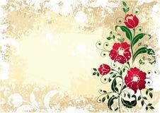 用花装饰古色古香的边界 库存照片