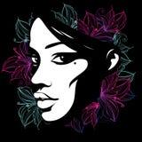 用花装饰的一张女性面孔的剪影 库存图片