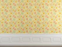 用花装饰的墙壁墙纸 库存例证