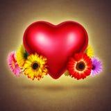 用花装饰的心脏 免版税库存照片