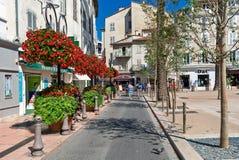 用花装饰的狭窄的街道在安地比斯 库存照片