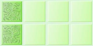 用花装饰的绿色瓦片 免版税库存图片