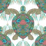用花饰装饰的乌龟 葡萄酒五颜六色的无缝的样式 向量例证