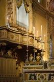 用茅草盖教会器官,费拉拉大教堂  免版税库存照片