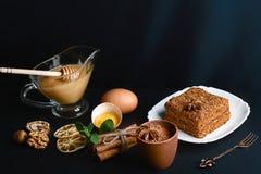 用茴香星装饰的切片层状蜜糕,点心叉子,薄菏,烘干了柠檬,桂香棍子,未加工的鸡蛋,可可粉,坚果 免版税库存图片