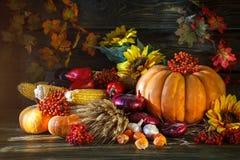 用菜、南瓜和秋叶装饰的木桌 秋天背景特写镜头上色常春藤叶子橙红 Schastlivy冯Thanksgiving 免版税图库摄影