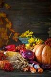 用菜、南瓜和秋叶装饰的木桌 秋天背景特写镜头上色常春藤叶子橙红 Schastlivy冯Thanksgiving 免版税库存图片
