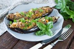 用菜、肉和乳酪充塞的被烘烤的茄子 库存照片
