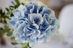 用蓝色和白色不同的花装饰的时髦,时兴的婚礼曲拱仪式 背景背景卡片设计花卉例证 夏天 免版税图库摄影
