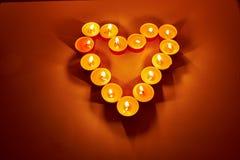 用蜡烛做的心脏 图库摄影