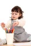 用蜡笔画女孩 库存照片