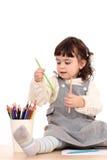用蜡笔画女孩 免版税库存图片