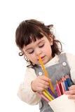 用蜡笔画女孩 库存图片