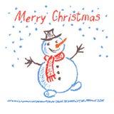 用蜡笔画画与字法的儿童` s圣诞快乐滑稽的雪人在白色 库存例证