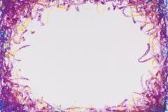 用蜡笔画蓝色紫色框架 免版税库存照片