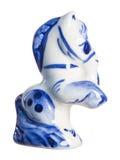 用被绘的Gzhel给上釉和装饰的纪念品瓷 免版税图库摄影