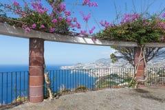 用装饰花观看平台和一张鸟瞰图在丰沙尔,马德拉岛 免版税库存图片