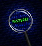 用计算机编码显露的密码通过放大镜 免版税库存图片