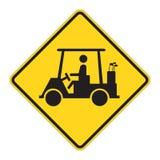 用车运送高尔夫球路标警告 免版税库存图片
