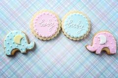 用釉装饰的婴孩曲奇饼 免版税库存照片