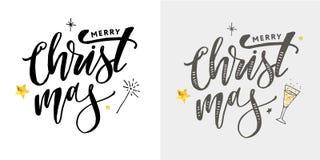 用金黄装饰的圣诞快乐书法题字 库存图片