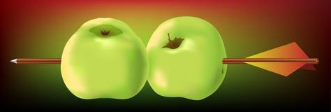 用针串起的苹果箭头 免版税库存图片