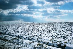 用雪包括的平的土地 库存照片
