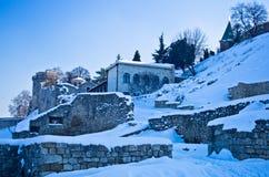 用雪包括的Kalemegdan堡垒 库存图片