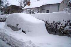 用雪和房子盖的汽车、灌木 免版税库存图片