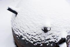 用雪报道的第二次世界大战的海军触发地雷,软的焦点 库存图片