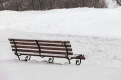 用雪盖的唯一长凳在冬天公园 免版税库存照片